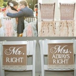 Bruiloft - Jute banner - wedding - MR RIGHT - MRS ALWAYS RIGHT