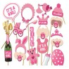 Photobooth party props set - Foto accessoires - Baby shower - 18 stuks - Meisje