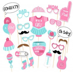 Photobooth party props set - Foto accessoires - Baby shower - 10 stuks - Meisje