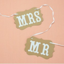 Bruiloft - Naambord - Banner - wedding - MR & MRS - Bruin