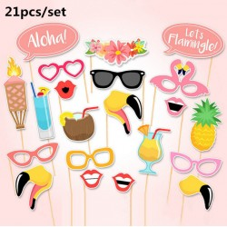 Photobooth party props set - Foto accessoires - Zomer - Hawaii - 21 stuks
